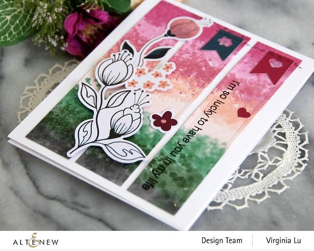 Altenew-Wildflower Collection 6x6 Paper Pack-Wildflower Collection Pink Posy Ephemera-Modern Greetings Stamp Set-Nesting Slim Rectangles Die-002