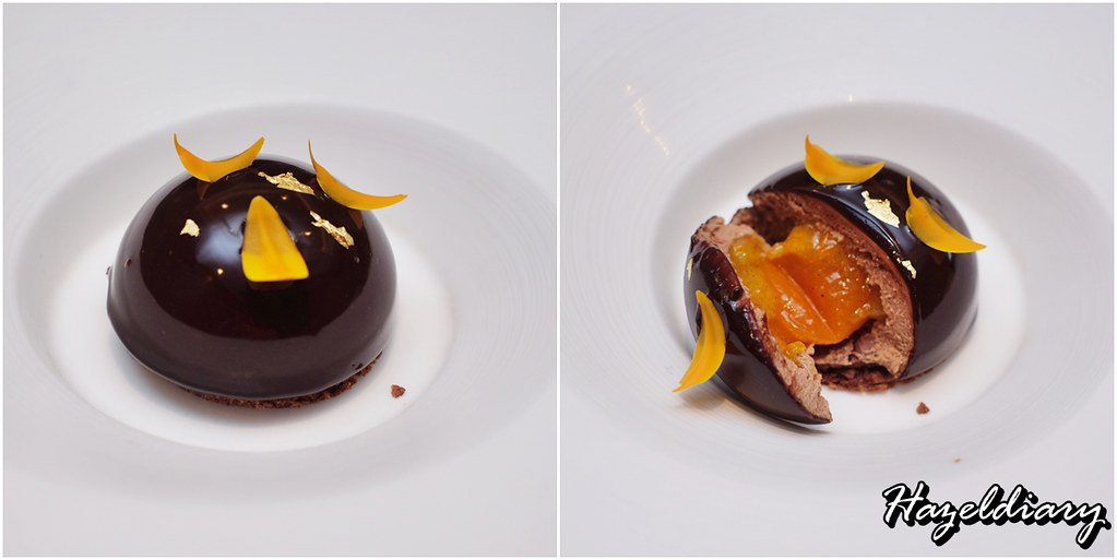 Jiang Nan Chun-Four Seasons- Oolong Tea Infused Jivara Chocolate Sphere with Kumquat