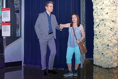 Nevada USA 10-30-18 Funny lady poses next to the figure of actor George Clooney at Madame Tussauds Wax Museum located at the Venice Las Vegas hotel