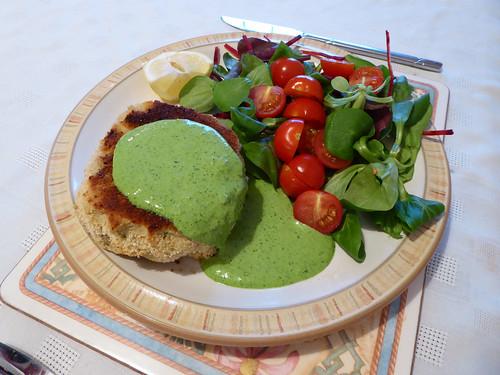 Haddock Fishcake with Watercress Sauce