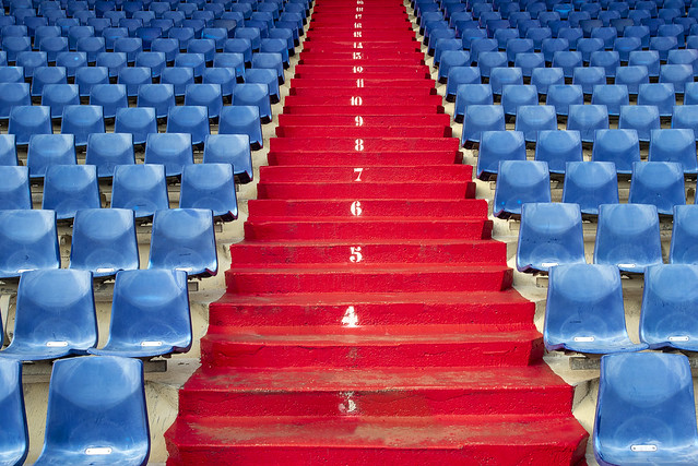 Red stairway in a stadium (on Explore)
