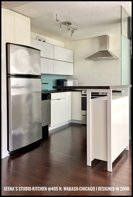Designed-2008. Small-Kitchen in Seena's (my better-1/2's) Studio-Condo I designed- today I'd've used lighter bleached-Gray-ish-Wood Wide-Plank-flooring