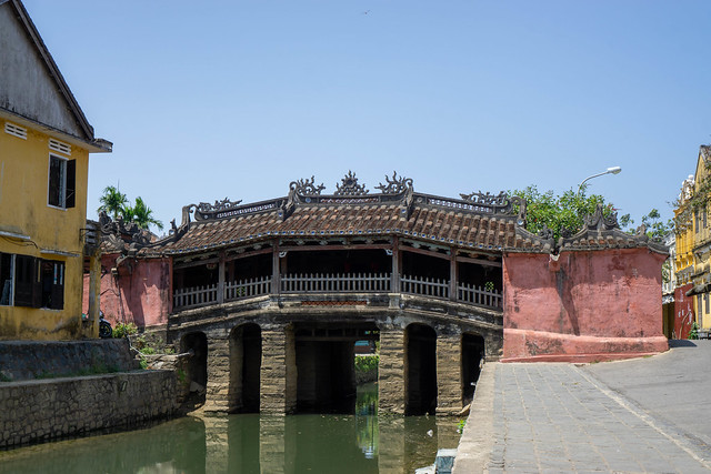 Historical Japanese Covered Bridge with no People and Blue Sky in the Old Town of Hoi An, Vietnam