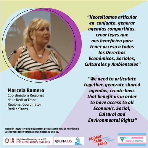 Marcela Romero en evento de UNAIDS