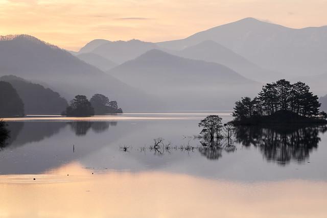 Morning glow view in Lake Akimoto