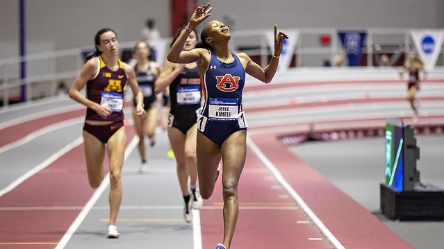 Joyce Kimeli crossing the finish line at the NCAA Indoor Championships.