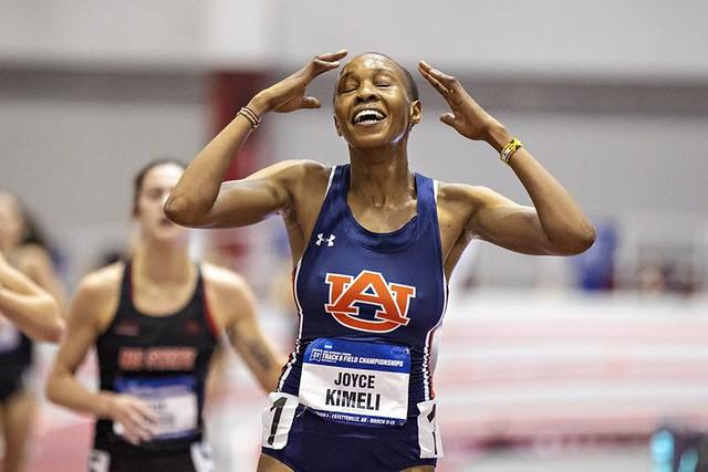 Joyce Kimeli overcome with emotion at the NCAA Indoor Championships.