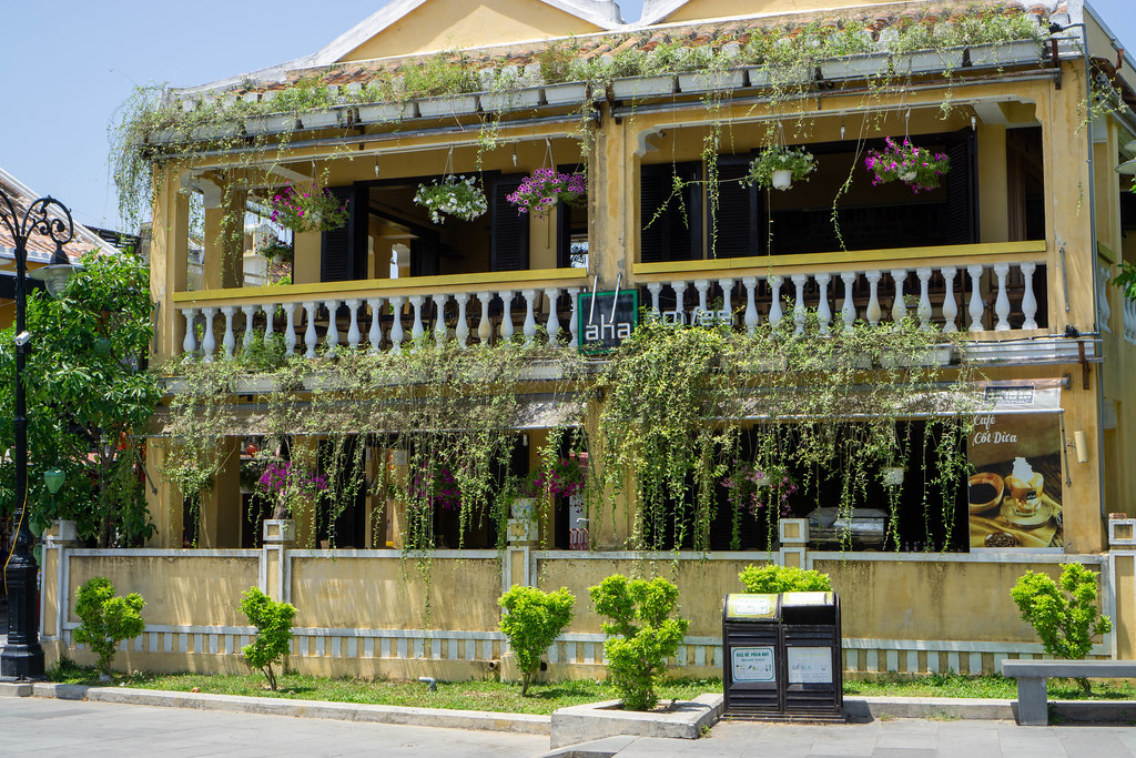 Aha Cafe in an Open Yellow House with Hanging Flower Pots and Plants hanging down the Balcony in Hoi An, Vietnam