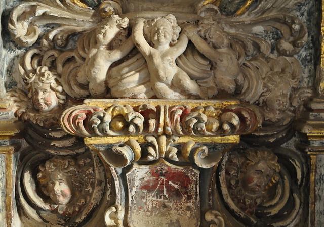 Autel baroque, XVIIIe siècle, cloître gothique, XIIIe, ancien monastère de Piedra, Nuévalos, communauté de Calatayud, province de Saragosse, Aragon, Espagne.