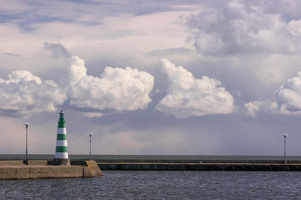 Nida. A scene. The Green Lighthouse and a bird.