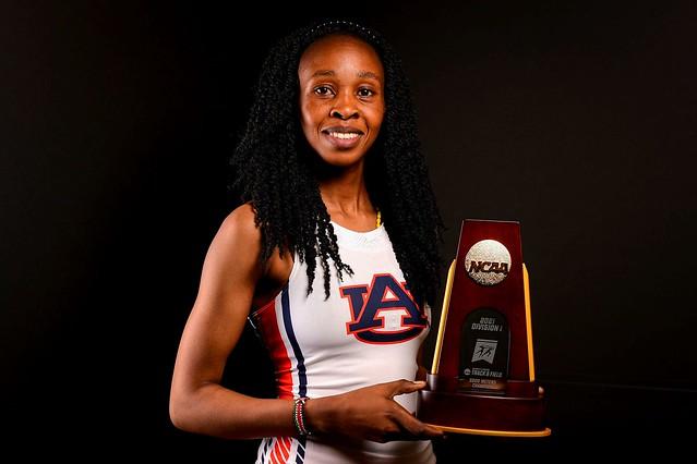 Joyce Kimeli with her 5000M national championship trophy.