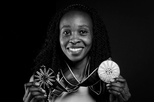 Joyce Kimeli with her SEC championship medals.