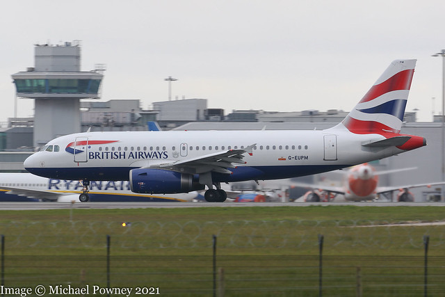 G-EUPM - 2000 build Airbus A319-131, rolling for departure on Runway 23R at Manchester