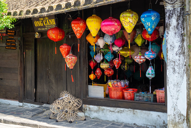Traditional Restaurant selling Cao Lau with Small Souvenir Store selling Handmade Silk Lanterns in different Colors in Hoi An, Vietnam