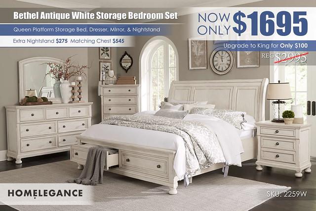 Bethel Antique White Platform Storage Bedroom Set_2259W_Homelegance