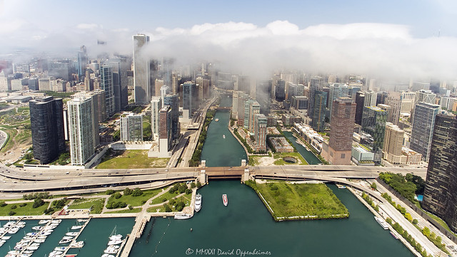 Chicago Riverwalk and Chicago River & Downtown Aerial View