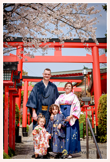 Family Photo shooing with cherry blossoms at shirine