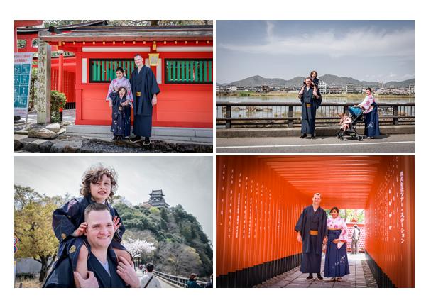 Family Photo shooing at a shrine, wearing Kimono