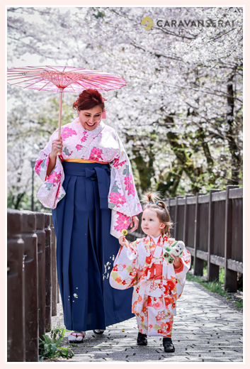 Family Photo shooing with cherry blossoms, mom and a daughter