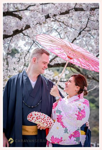 Family photo shooting in Japan, sakura(cherry blossom) season, 2021, wearing Kimono