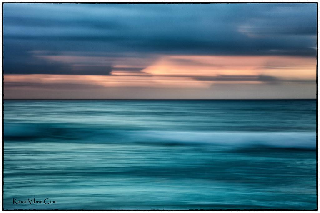 Sunrise at Kealia Beach, Kauai. An abstract.