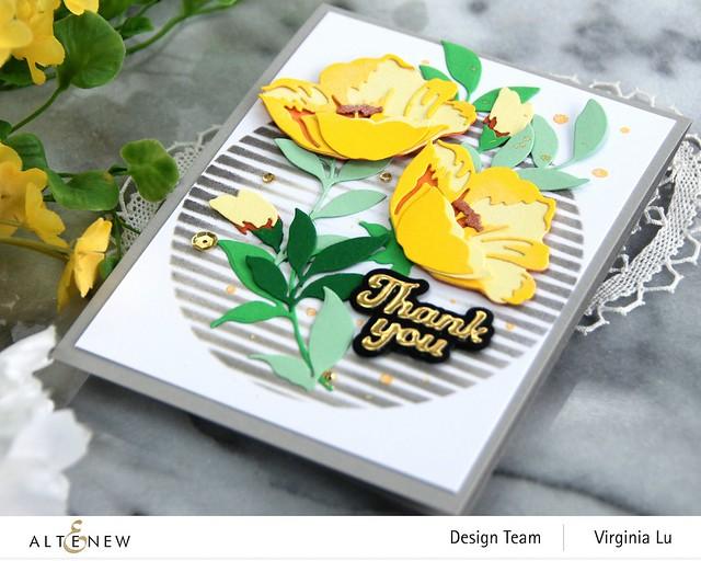 Altenew-CAF Buttercup-Green Meadow Gradiant Card Stock-Summer Afternoon Gradiant Card Stock-Sphere Stencil-002