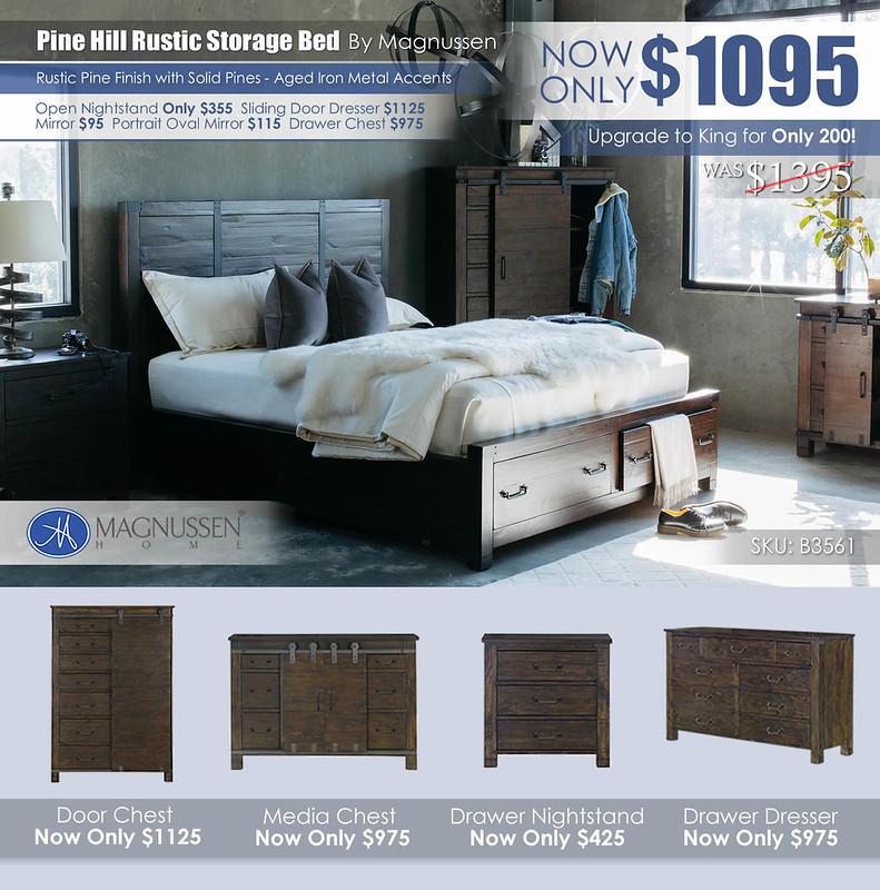 Pine Hill Rustic Storage Bed B3561_2021