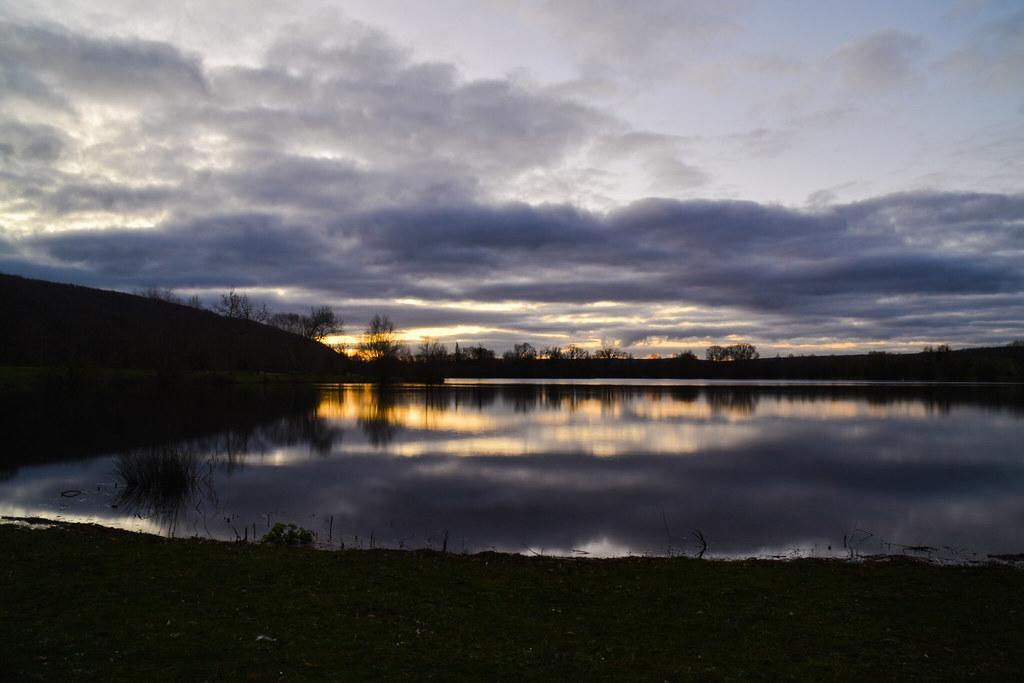 Sunrise reflected on the lake