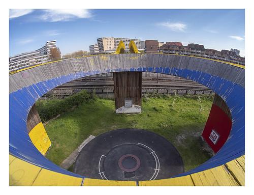 europe netherlands rotterdam centre schiekade luchtsingel roundabout 7artisans75mmf28fisheye