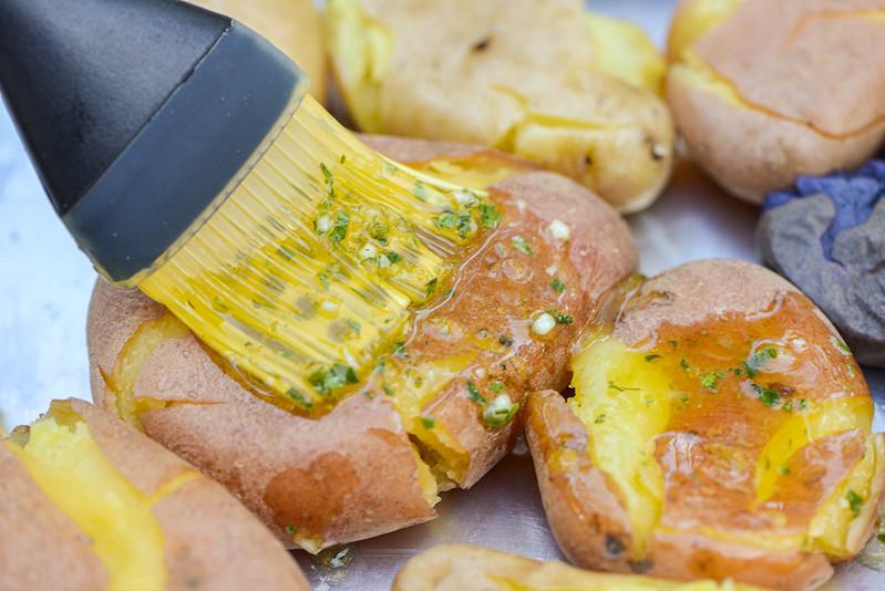 Lemon & Garlic Smashed Potatoes