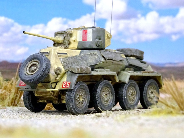 """1:72 Leyland """"Type D"""" Mk. II armoured scout car; vehicle """"B5 (W30975)"""" of the British Army's 8th King's Royal Irish Hussars, 4th Armored Brigade, 7th Armored Division; North Africa, early 1942 (What-if/kitbashing)"""