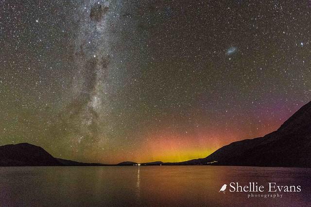 Aurora Australis & Milky Way- Lake Ohau & Ben Ohau