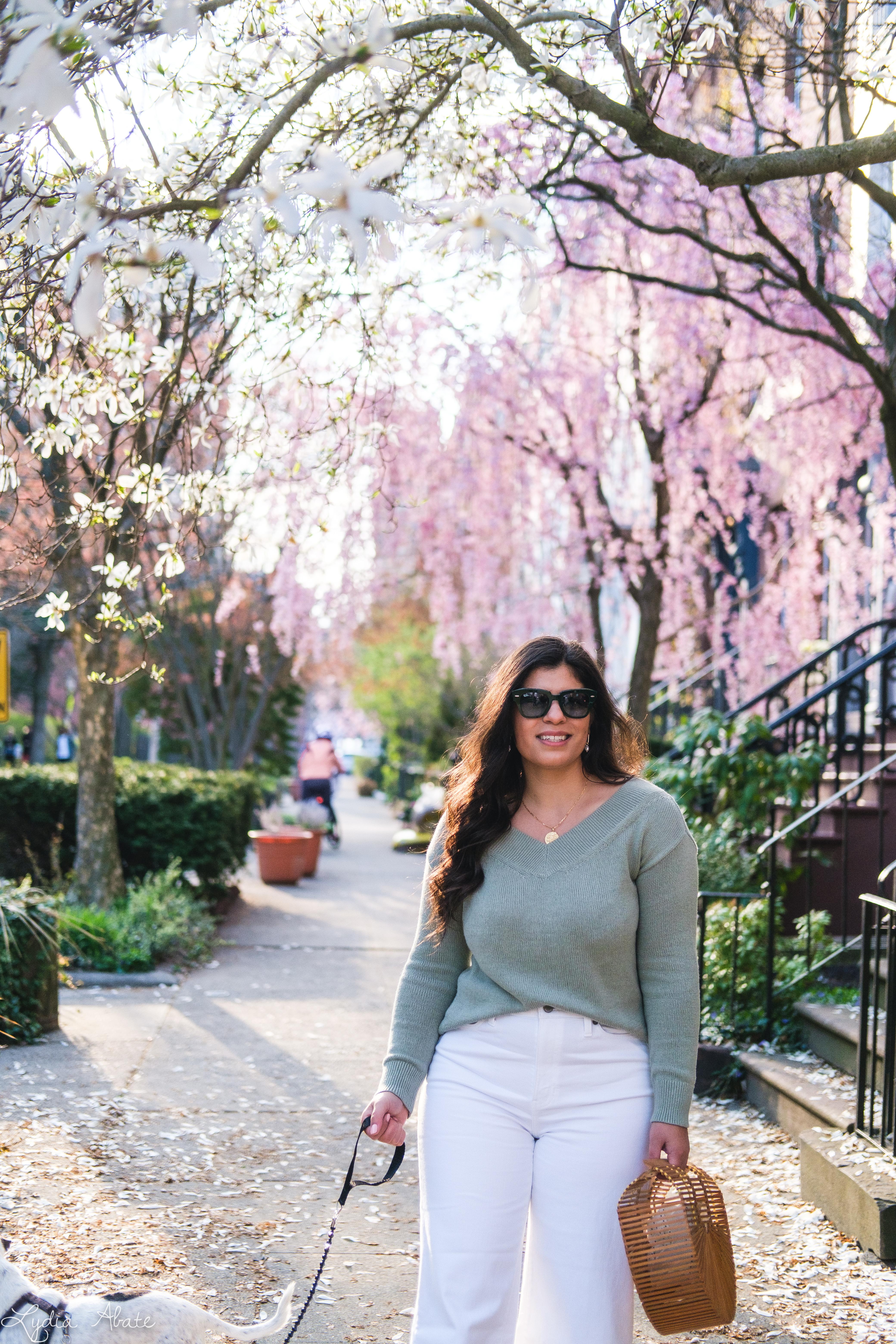 sage green sweater, white wide leg jeans, bamboo bag, dog walking-18.jpg