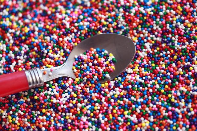 Rainbow Birthday Sprinkles and Spoon Wallpaper