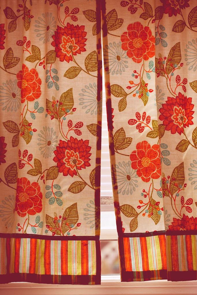 Orange Floral Kitchen Window Curtains 2021
