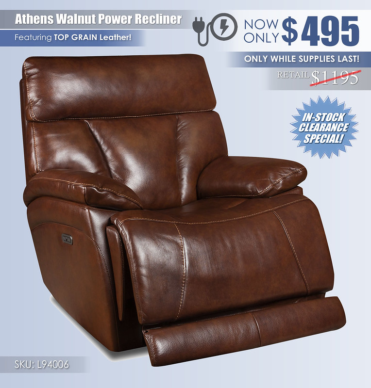 Athens Walnut Power Recliner_L94006_2021_Clearance
