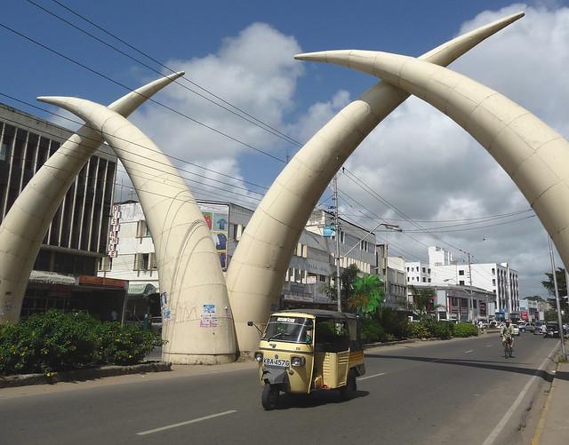 Mombasa Tusks Monument, Kenya, Africa