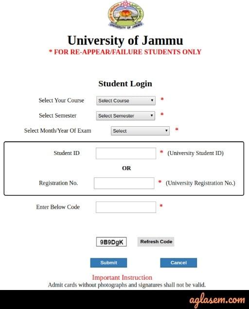 JUCC Admit Card