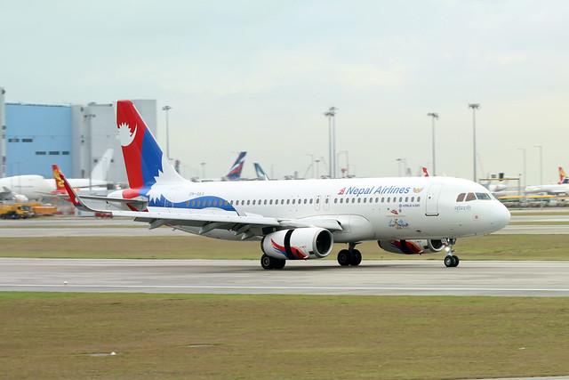 Nepal Airlines A320 9N-AKX landing HKG/VHHH