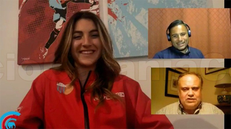 Beatrice Vitale durante l'intervista a cura di Vincenzo La Corte e Daniele Sicilia