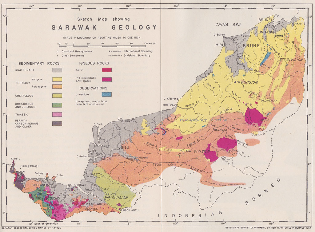 1:3,000,000 sketch map of the Geology of Sarawak by the Sarawak Geological Office, Geological Survey Dept, British Territories in Borneo, 1954