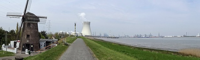 The dike that separates the ghost village of Doel from the Antwerp port area