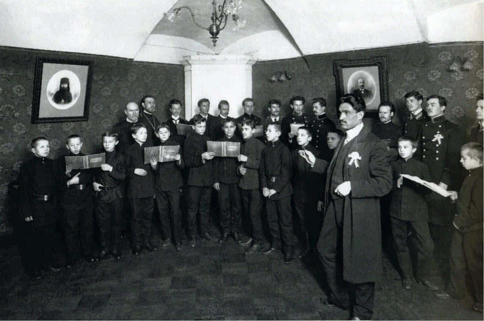 1910. Хор Санкт-Петербургской духовной академии. Дирижирует П. А. Органов.15 февраля