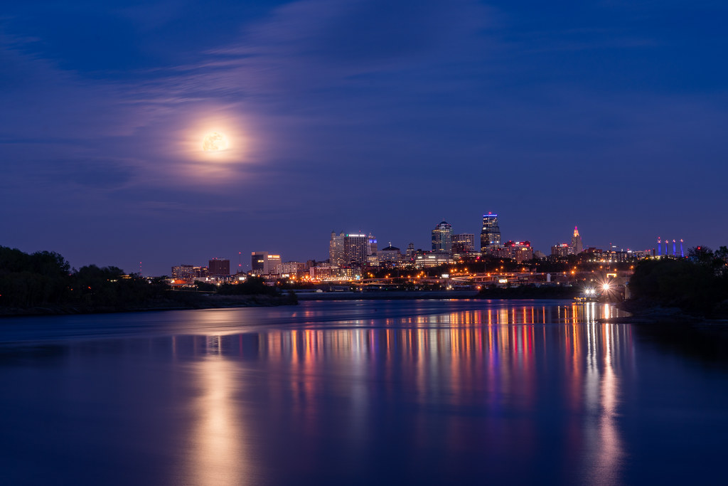 A Kansas City Super Moon From Kaw Point During Blue Hour