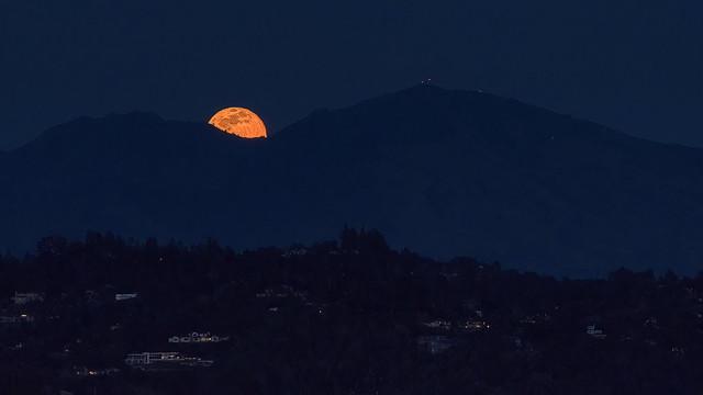 Full Moon Peeking Over Mt. Diablo 032821