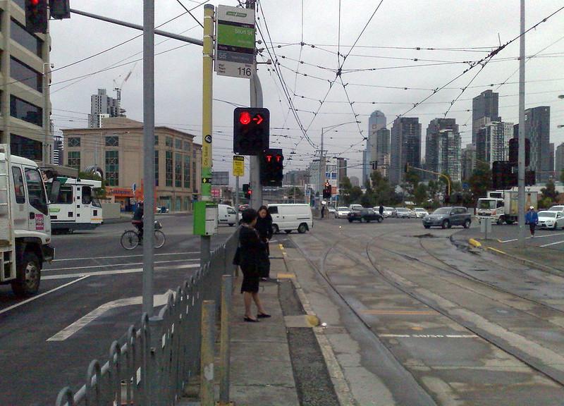 Tram stop on Kingsway, April 2011