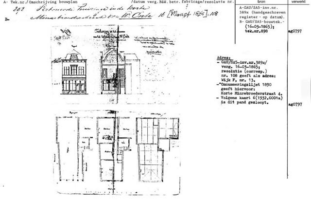 Bouwtekening Korte Minrebroederstraat 4 (6/3/1865). [bron: Documentatie.org]