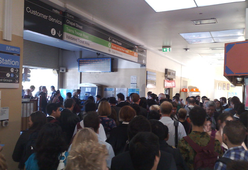 Crowding at South Yarra station, April 2011