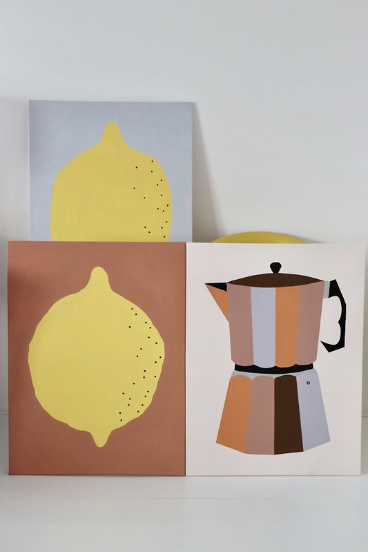 lemon & percolator painting