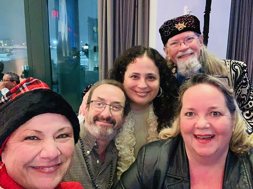 Beth Arroyo Utterback, Ron Phillips, Jen Sachs, Tommy Boehm, and Leslie Cooper at WWOZ's holiday party, Dec. 2019